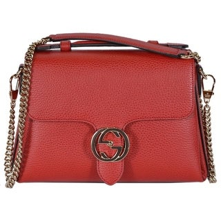"Gucci 510302 Red Leather Interlocking GG Clasp Convertible Purse Handbag - 10.5"" (at bottom) 9"" (at top)"" x 7.5"" x 3.5"""