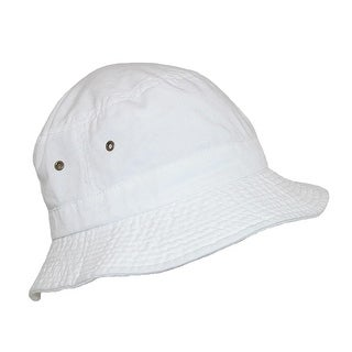 Dorfman Pacific Cotton White Crushable Summer Sun Bucket Hat