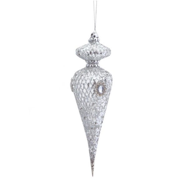 "12.75"" Exquisite Imperial Curved Silver Jeweled Christmas Ornament"