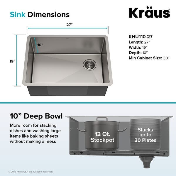 Shop KRAUS Standart PRO Stainless Steel 27 inch Undermount Kitchen