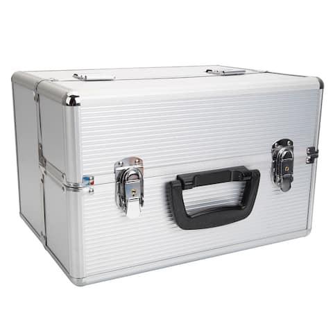 Portable Aluminum Makeup Storage Box with Keys White
