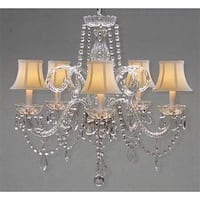 Swarovski Crystal Trimmed Crystal Chandelier Lighting & White Shades