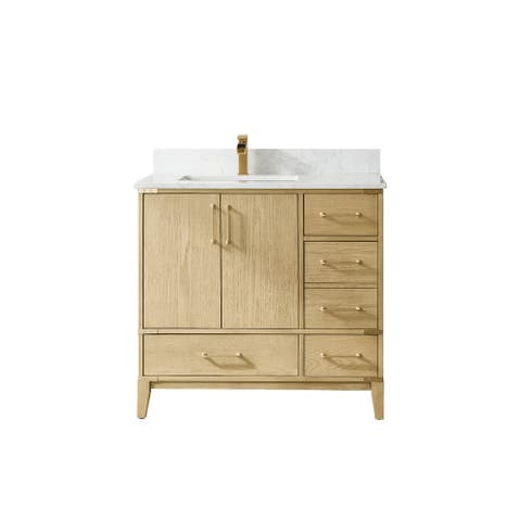 """Zaragoza 36"""" Vanity in Washed Ash with Countertop Without Mirror"""