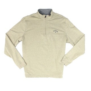 Callaway NEW Solid Beige Mens Size Small S Mock Neck 1/2 Zip Sweater