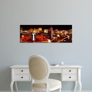 Easy Art Prints Panoramic Images's 'City lit up at night, Las Vegas, Nevada, USA' Premium Canvas Art