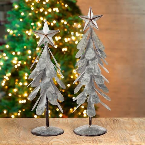 Glitzhome Galvanized Metal Christmas Tabletop Tree