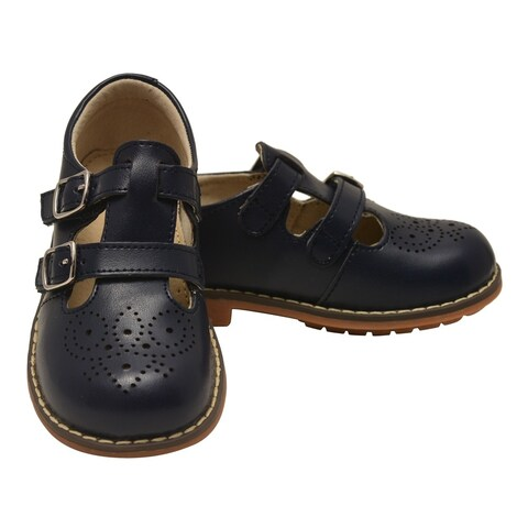 L`Amour Unisex Navy Double T-Strap Buckled Leather Mary Jane Shoes