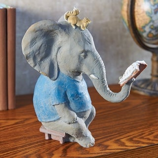 """Art & Artifact Reading Elephant and Squirrel Sculpture - 10"""" Tall Figurine"""