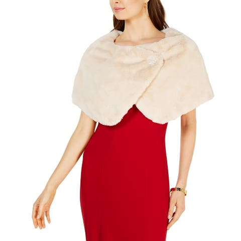 Tahari By ASL Womens Beige One Size Shawl/Wrap Rose Brooch Pull Through