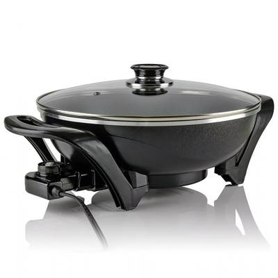 Ovente SK3113B Electric Skillet with Nonstick Coating Pan & Borosilicate Glass Cover 13 Inch, 1400 Watt Cooking Wok, Black