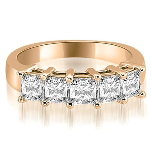 1.35 cttw. 14K Rose Gold Princess Diamond 5-Stone Prong Wedding Band