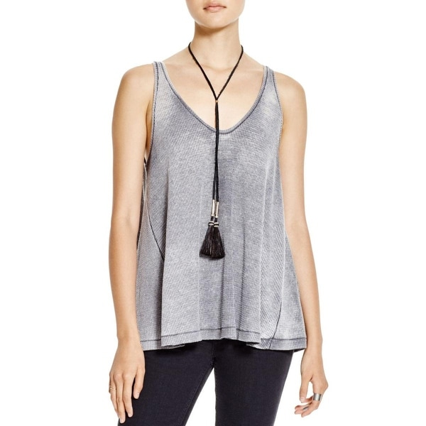 We The Free Womens Juniors Kitten Tank Top Thermal Back Pleat