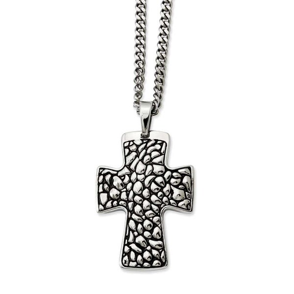 Stainless Steel Black Enamel Pebble Textured Cross Pendant 22in Necklace (4 mm) - 22 in