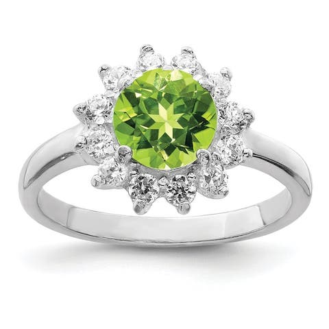 Sterling Silver Rhodium-plated Peridot and CZ Ring by Versil