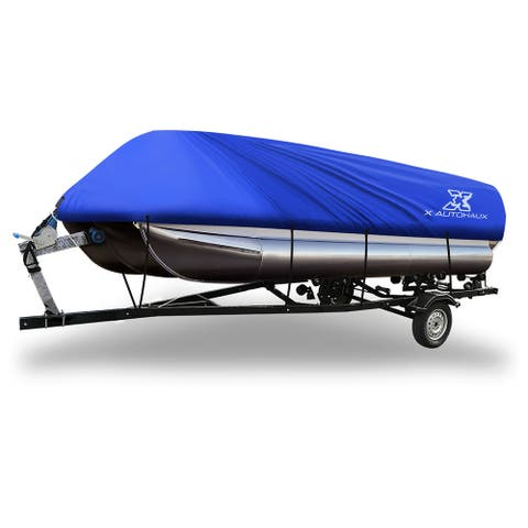 Blue 21-24ft 300D Boat Cover Waterproof Trailerable for Square Shape Boats - Fit Length:21-24ft,Beam Width: 102""