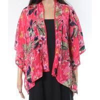 Cupio Pink Womens Size XS Open Front Floral Crochet Trim Jacket