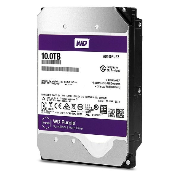 "Western Digital Wd100purz 10Tb Purple 5400Rpm Sata Iii 3.5"" Internal Surveillance Hard Drive"