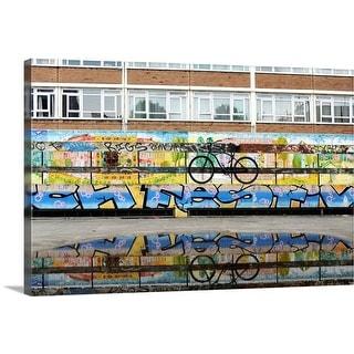 """""""Bike, Puddle and graffiti"""" Canvas Wall Art"""