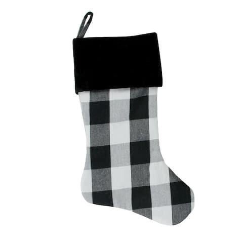 "20"" White and Black Buffalo Plaid Christmas Stocking with Velvet Cuff"