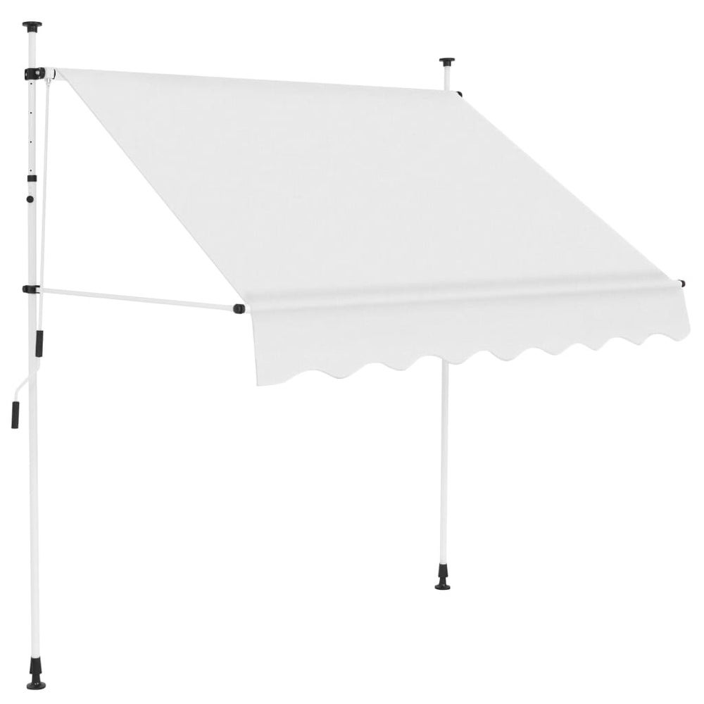 Tidyard Folding Awning Manual Operated Retractable Awning Garden Patio Sun Shade Canopy 300 cm Blue//White
