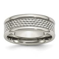 Chisel Stainless Steel Grey Carbon Fiber 8mm Polished Band