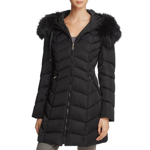 T Tahari Gwen Black Down Puffer Coat Chevron
