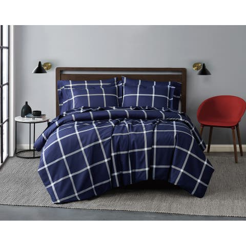 Truly Soft Printed Windowpane 3 Piece Comforter Set