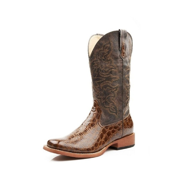 Roper Western Boots Womens Square Toe Croco Tan
