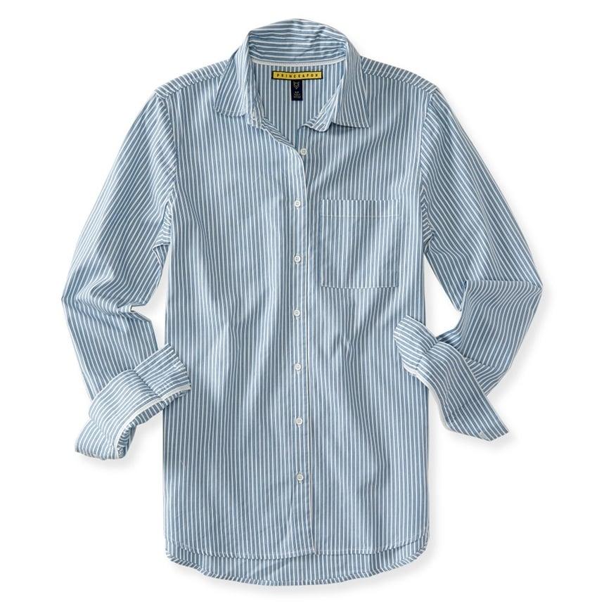 Aeropostale Womens Vert Striped Button Up Shirt