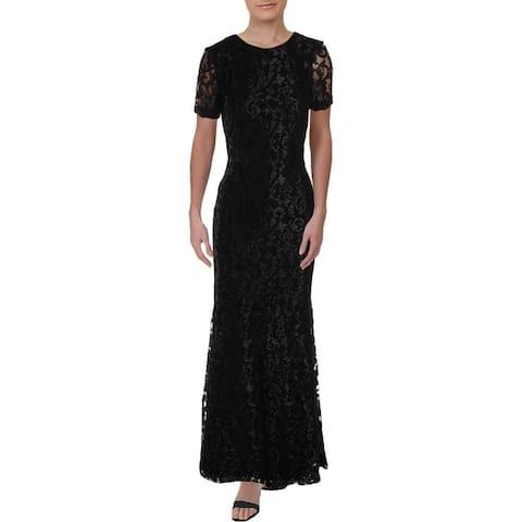 Ralph Lauren Womens Caroleve Evening Dress Metallic Lace - Black/Silver