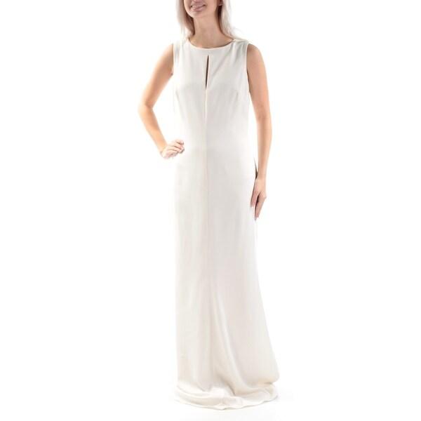 Shop RALPH LAUREN Womens Ivory Cut Out Sleeveless Jewel Neck Full ...