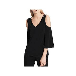 Calvin Klein Womens Casual Top Studded Cold Shoulder