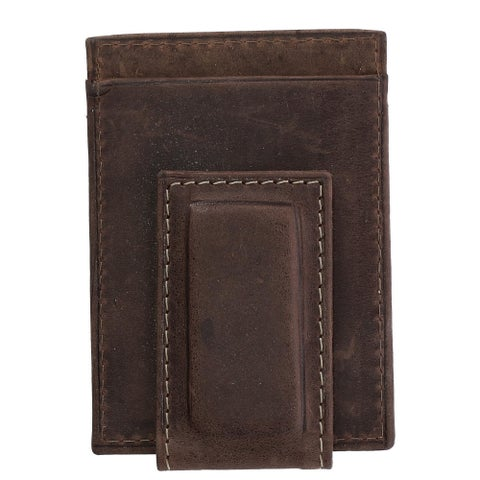 CTM® Men's Hunter Leather Distressed Magnetic Money Clip - One size