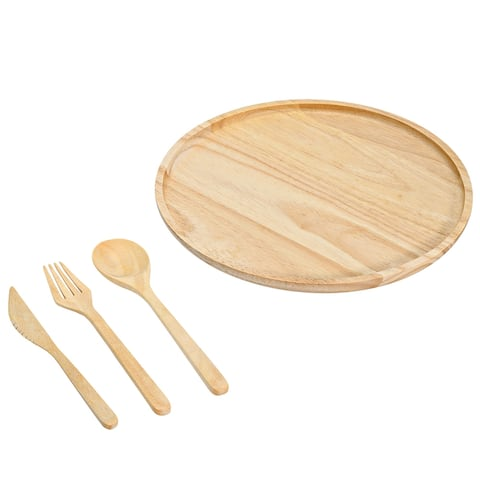 Handmade Unique Circle Shaped Plate and Utensils Natural Rubber Tree Wood 4pcs (Thailand)