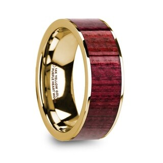 PHILO Polished 14k Yellow Gold Men's Wedding Ring with Purpleheart Wood Inlay - 8mm