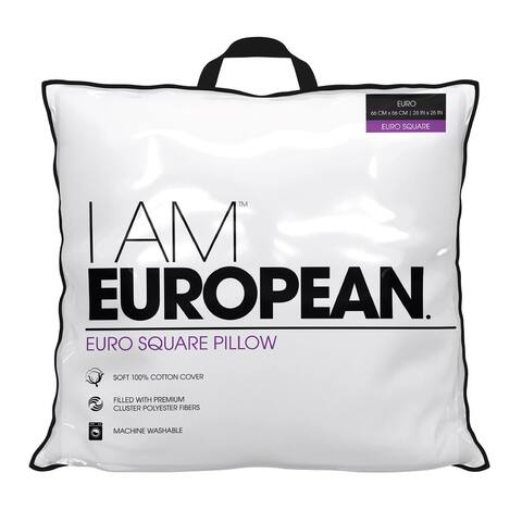 I AM European Hypoallergenic Down Alternative Decorative Bed Pillow - White