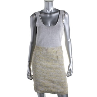Rachel Roy Womens Metallic Sleeveless Wear to Work Dress - L