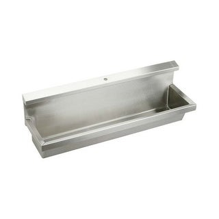 "Elkay EUH6014C Stainless Steel 60"" x 14"" Wall Mount 14 Gauge Multiple Station Urinal with 8"" Backsplash and Concealed Flush Pipe"