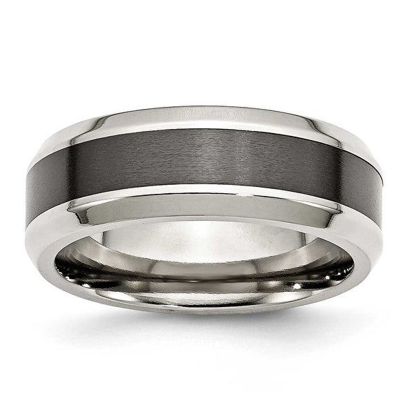 Chisel Stainless Steel Base with Polished Black Ceramic Center Beveled Band (8 mm)