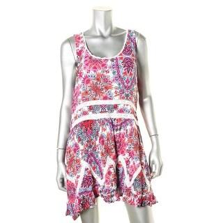 Aqua Womens Textured Pattern Blouse - L