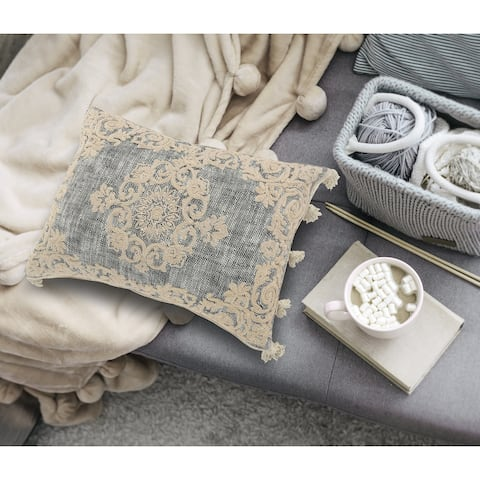 Medallion and Bordered Gray and Ivory Throw Pillow
