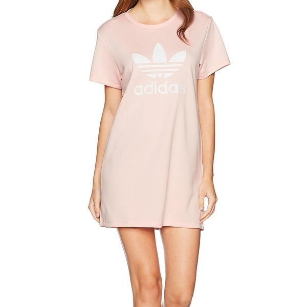 ce5b6d8fcec Shop Adidas Pink Womens Size Large L Short-Sleeve Logo A-Line Dress - Free  Shipping On Orders Over  45 - Overstock.com - 27213476