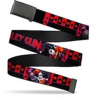 Blank Black  Buckle Harley Quinn Bomb Poses Suits Black Purple Red Web Belt