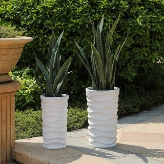 Reyis White Finish Tall Wavy Planters (Set of 2) by Havenside Home