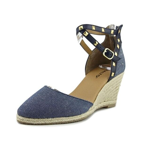 Rialto Compari Women Open Toe Canvas Blue Wedge Sandal