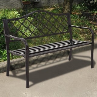 Costway 50'' Patio Garden Bench Loveseats Park Yard Furniture Decor Cast Iron Frame Black
