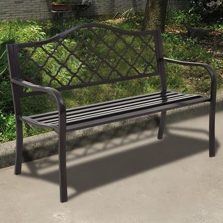 costway 50 patio garden bench loveseats park yard furniture decor cast iron frame black - Garden Furniture Steel
