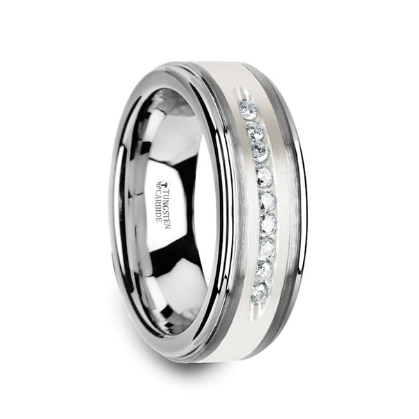 Harper Tungsten Wedding Band With Raised Center Brushed Silver Inlay And 9 Channel Set White Diamonds