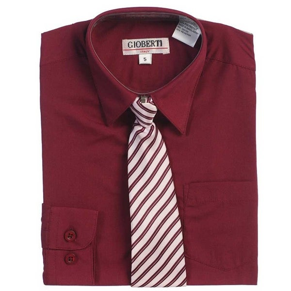 Burgundy Button Up Dress Shirt Gray Striped Tie Set Toddler Boys 2T-4T