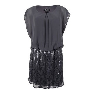 S.L. Fashions Women's Plus-Size Sequined Blouson Chiffon Dress